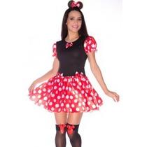 Fantasia Adulto Vestido Carnaval Minnie Com Tiara E Brinde