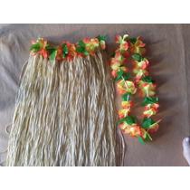 Pollera Hawaiana Cintura Y Flores De Tela
