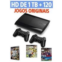 Ps3 Playstation 3+hd1tb+112jogos Com Fifa17 E Pes17+2contr.