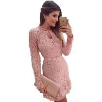 Vestidos Rosa De Renda Curtos Para Festas Importados