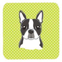 Conjunto De 4 Cal Cuadros Boston Terrier Posavasos Espuma Bb