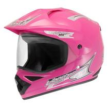 Capacete Pro Tork Mx Pro Vision Rosa Com Viseira