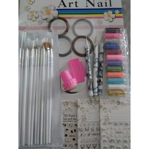 Set 15 Pinceles Decoración Uñas 3 Dotting Nail Art Cintas