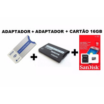 Kit 2 Adaptador Memory Stick P/ Ms Pro Duo + 01 Cartão 16gb