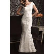 Vestido Sereia Longo Em Renda, Noiva Casamento, Meia Manga