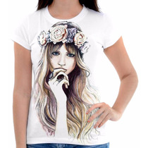 Camisa Camiseta Feminina Desenho Namorados Amor Love Flores