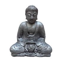 Escultura Buda De Pedra Para Jardim 30 Cm - Cinza - Budista