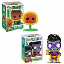Funko Pop Set 2 Plants Vs Zombies Sunflower Super Brainz New
