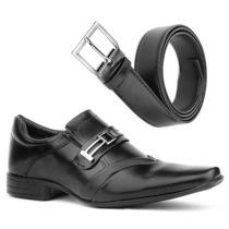 Sapato Social Masculino Couro Ecológico Com Cinto Preto