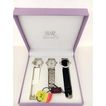 Relógio Feminino Kit -3 Pulseiras / 3 Aros + Frete Grátis