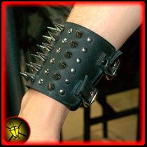 Muñequera Cuero Con Costura 6 Puas Pinche Abrojo Metal Heavy