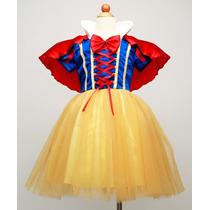Vestido Fantasia Infantil Branca De Neve C/ Tiara
