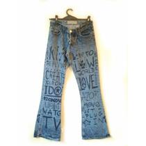 Jeans Oxford T 25, Azul, Estampado