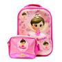 Mochila Infantil Kit Lancheira Bailarina Rosa 3d