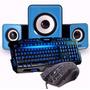 Kit Gamer Teclado + Mouse Com Fio Caixa De Som Subwoofer 2.1