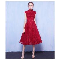Vestido Corto Fiesta Bordado Con Flores Rojo
