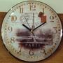 8130 Relógio De Parede 30cm Vidro Convexo Torre Eiffel Paris