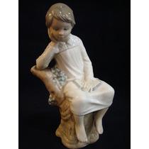 Antigua Figura Lladro Pequeño Pensador En Porcelana 2252