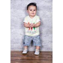 Conjunto Bermuda Jeans Blusa Infantil Com Blusa Em Malha E