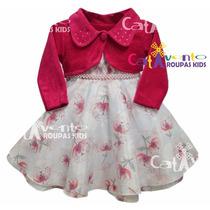 Vestido De Festa Infantil Com Bolero Tamanhos 4 Ao12 E Tiara