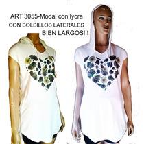 Remeron Largo Capucha Bolsillos Laterales Modal Con Lycra
