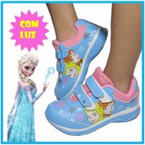 Tênis Infantil Frozen Velcro Acende Pisca Luz Elsa Anna