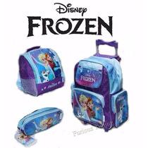 Kit Mochila Frozen De Rodinhas + Lancheira + Estojo Disney.