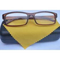 Óculos Grau Quadrado Unissex Marrom Colorido Fem Masc +1,75