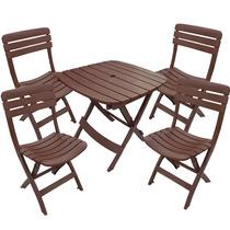 Conjunto Mesa 4 Cadeiras Plásticas Dobrável Marrom Antares