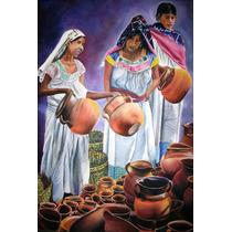 Indígenas Con Cantaros_pintura Al Óleo