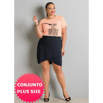 Conjunto Blusa E Saia Plus Size Tamanho Grande Gordinha