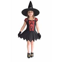 Fantasia Bruxa Infantil Com Chapeu,luvas,halloween,kit 3 Pçs