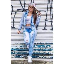 Conjunto Jaqueta Feminina + Calça Jeans Com Moletom Inverno