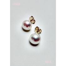 Aretes Oro 14k Solido Con Perlas Cultivadas Blancas 9mm