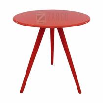 Mesa Decorativa De Canto Centro Laqueada Pé Palito Vermelha