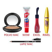 Combo De Maquillaje, Mac, Wow, Excel, Rimel, Polvo