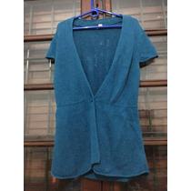 Saco De Hilo Manga Corta Color Azul Petroleo