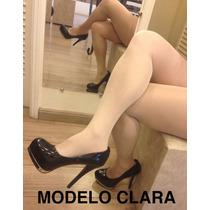 Meia Calça Spandex Estilo Beyonce Clara Com Brilho Dança