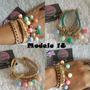 Pulseras Candy Con Cuero Gamuzado Y Piedras Multicolor