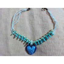 Collar Mujer De Perlas Y Piedra De Vidrio Corazon Azul Nuevo