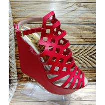 Zapato De Plataforma Color Rojo Para Dama Mujer Envío Gratis