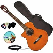 Guitarra Electro Criolla Corte Zurda Funda Curso Afinador +