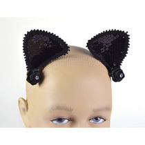 Orejas Negras En Vincha C/lentejuelas P/damas Disfraz D/gata