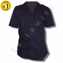 Camisa Policial Azul Lisa M/corta 2 Bolsillos Domi
