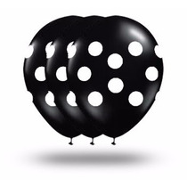 25 Unid. Balões Nº10 Preto Com Bolinhas Brancas * Bexigas