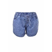 Shorts Short Feminino Jeans Elástico Cintura Alta Cós Médio