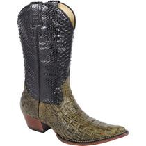 Bota Cowboy Masculina Texana 100% Exótica Silverado Couro
