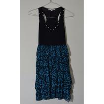 Vestido De Noche De Fiesta Tally Weijl Azul Y Negro Talla 6