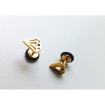Piercing Aro De Acero Con Diseño Diamante, Simula Expansores