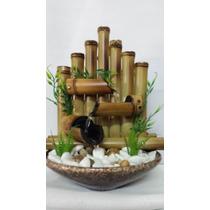 Fonte De Agua Bambu Artesanal Feng Shui Ceramica E Pedras